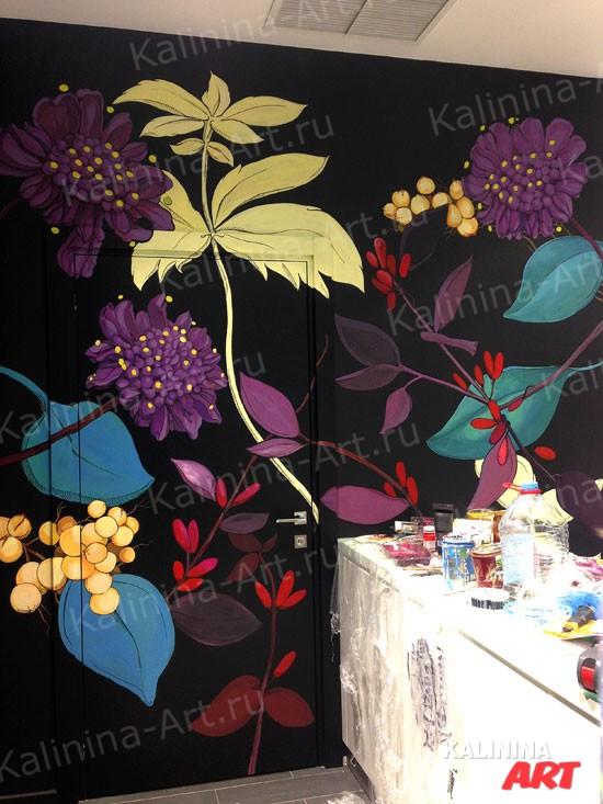 Роспись стен в интерьере Organic Shop