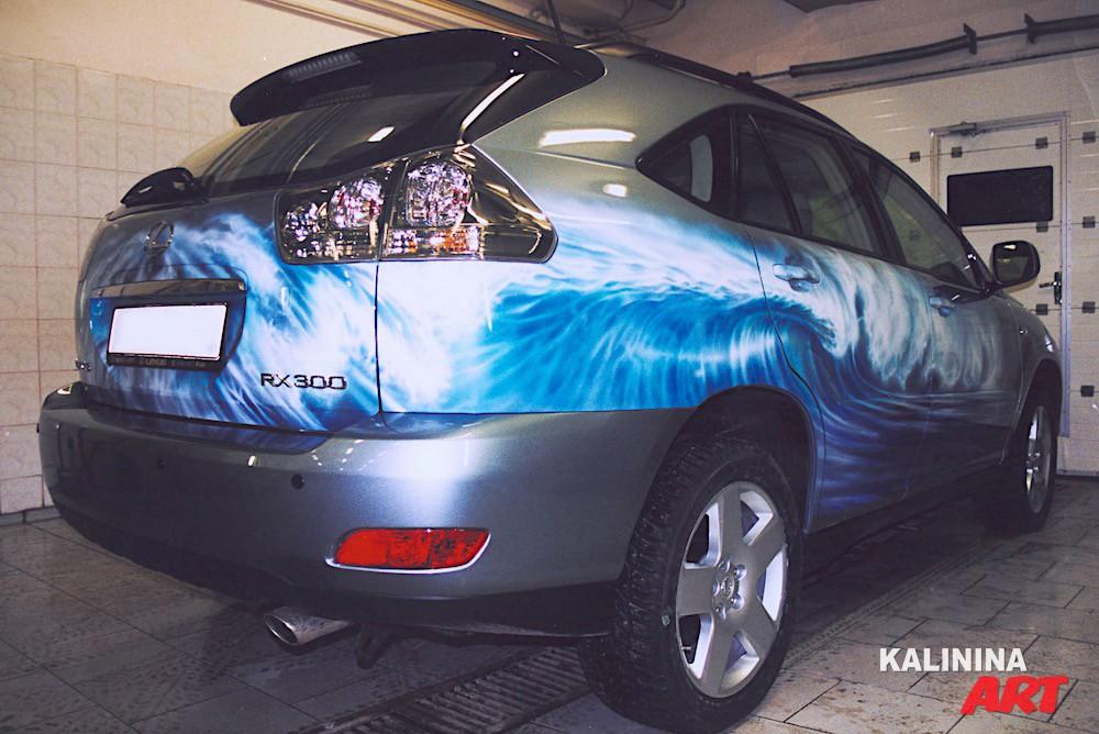 Аэрография на джипе Lexus - морские волны