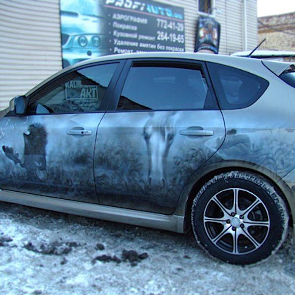 Аэрография автомобиль Subaru - Ёжик в тумане