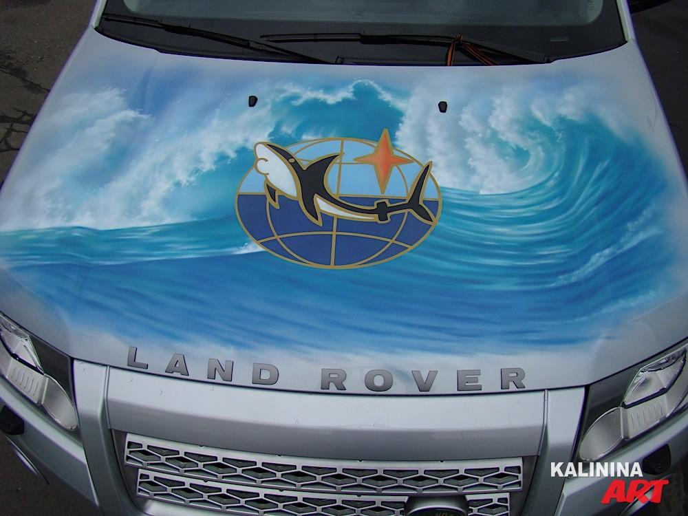 Аэрография на Land Rover - логотип